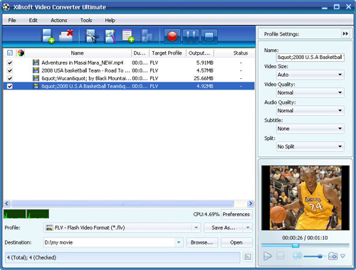 Video Converter, Convert MP4 to FLV